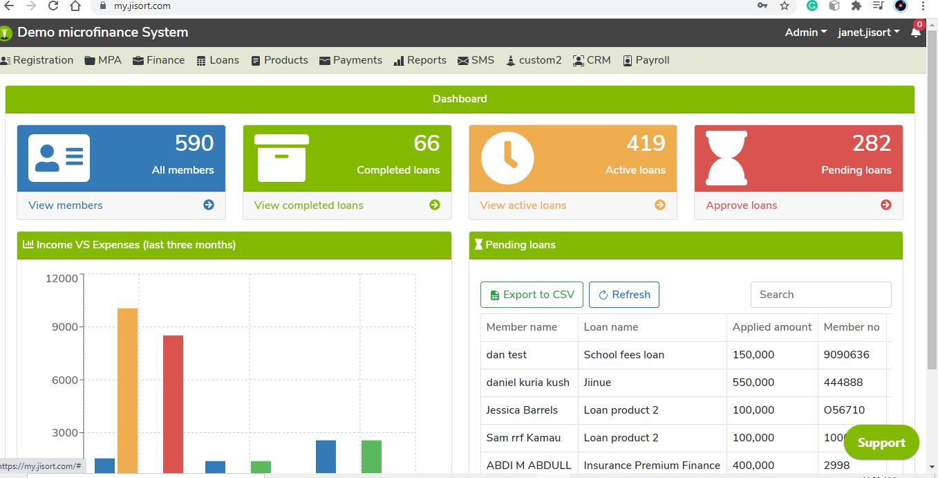Jisort Money Lending Accounting Software Demo