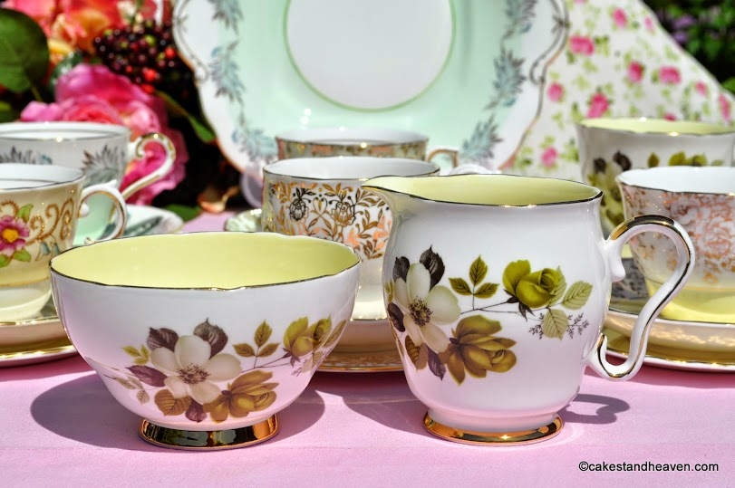 Royal Stafford lemon interior milk jug and sugar bowl