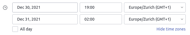 Specify a time zone in the web app