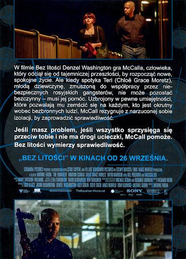 Tył ulotki filmu 'Bez Litości'