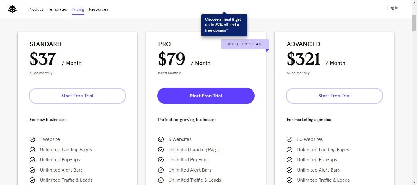 leadpages pricing options