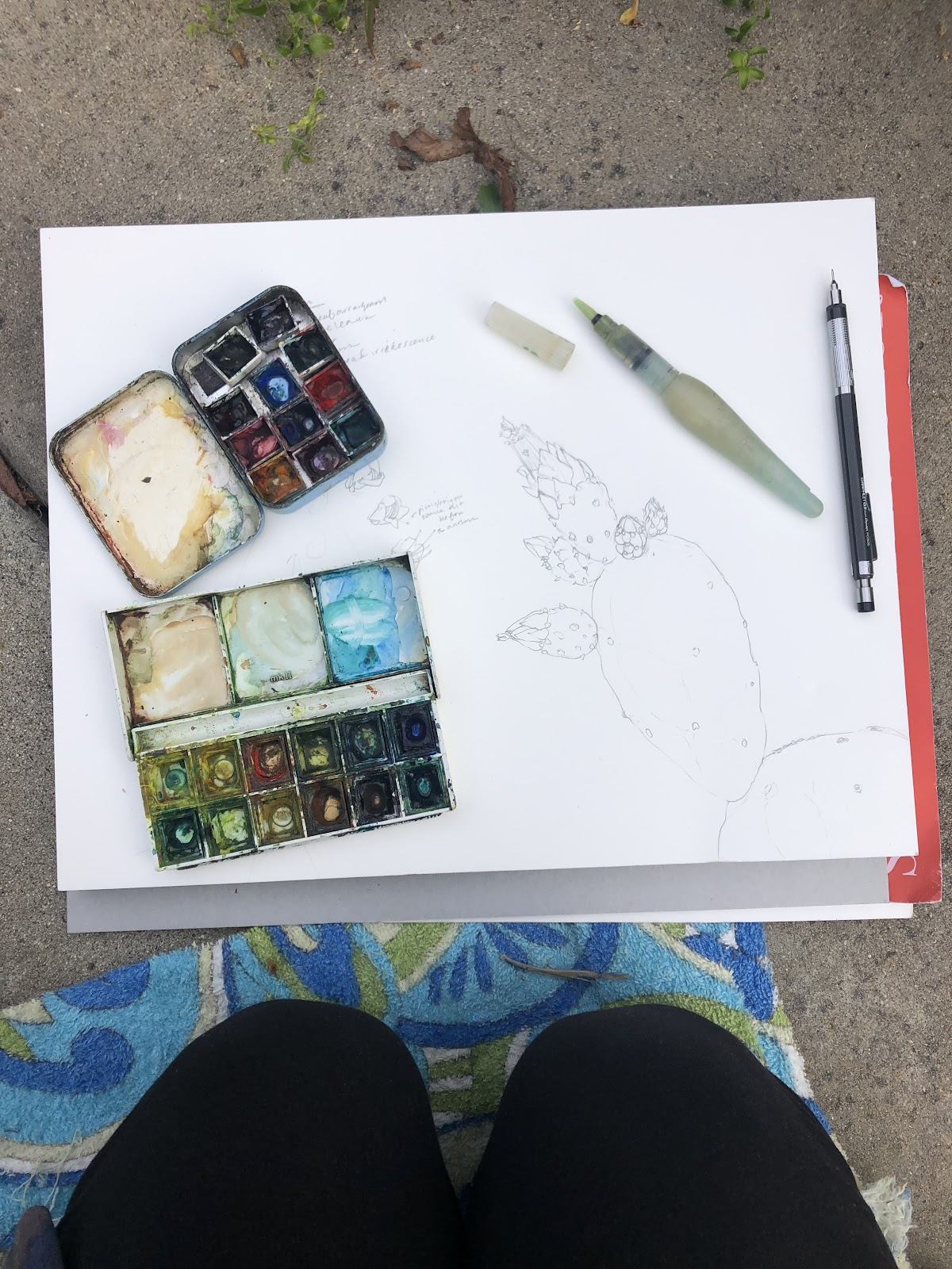 A watercoloring kit lying on the sand