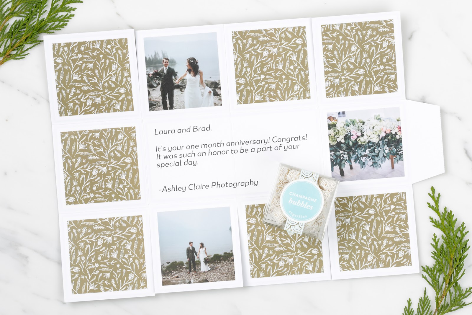 Client booking gift combination of Sweet Stems Print + Champagne Bubbles