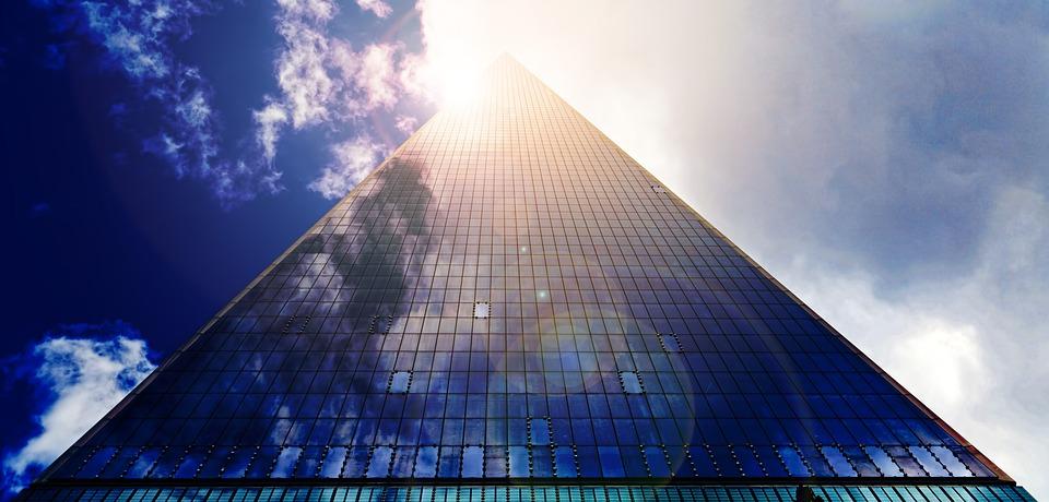 高層ビル, 超高層ビル, ガラスのファサード, ファサード, 事務所ビル, アーキテクチャ, 空, 太陽