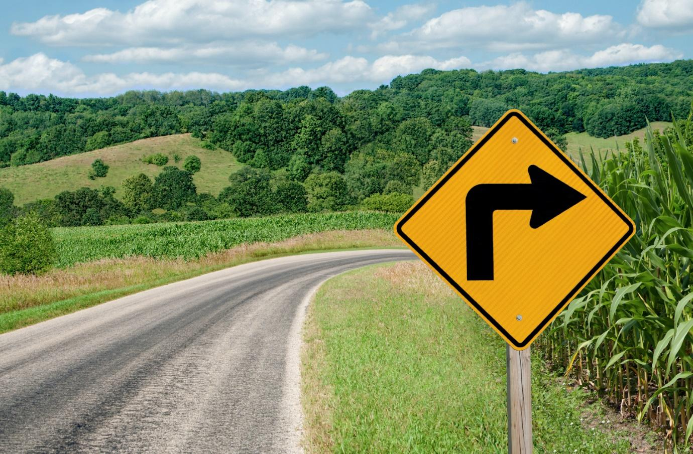 Sign in road to show the need to pivot in business