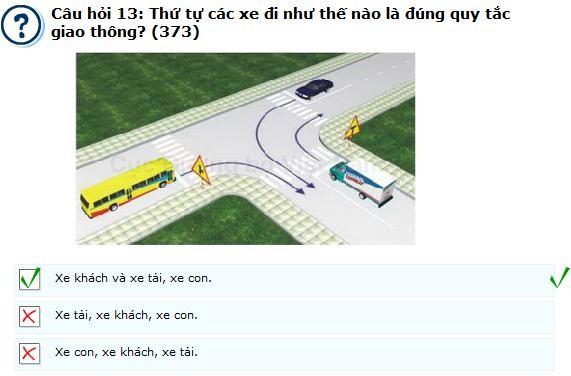 Câu hỏi 373 - câu hỏi khó thi lý thuyết bằng lái ô tô