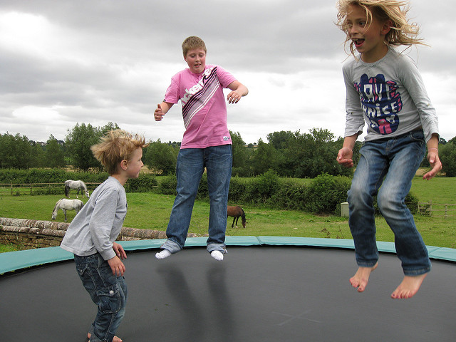 install a trampoline in the garden
