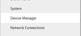 Device Manager option in the Quick Link menu