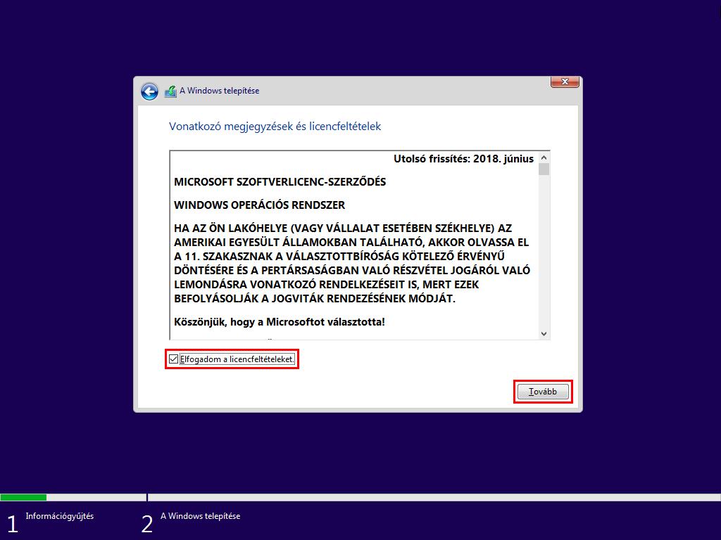 Windows 10 licenszszerződés elfogadása
