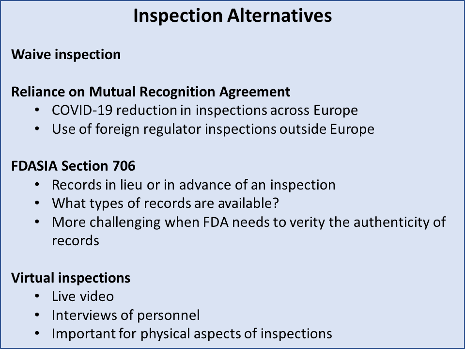 Figure 3: Inspection Alternatives