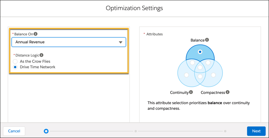 In the Optimization Settings menu Balance on Annual Revenue is selected. The Drive Time Network radio box is selected for Distance Logic. On the right side under Attributes, Balance, Continuity, and Compactness are displayed.