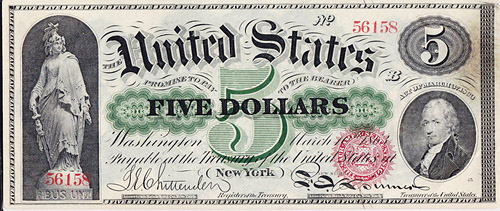 nota de 5 dólares antiga