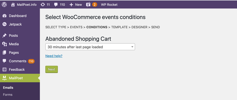 Setting abandoned shopping cart timing in the MailPoet plugin.