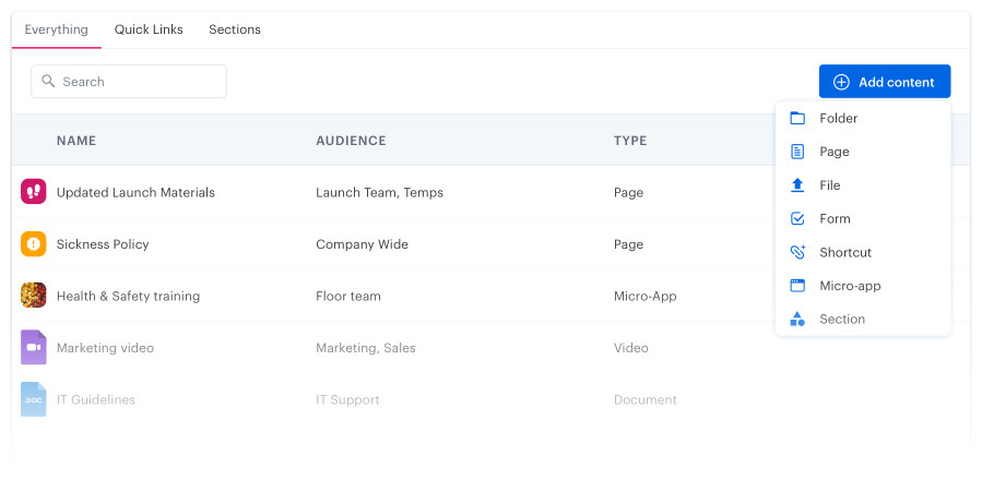 Blink's centralized location for sharing documents throughout the employee lifecycle.