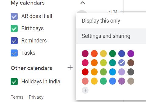 Calendar settings and sharing