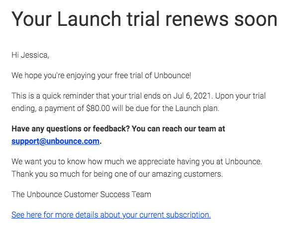 An Email Describing Winback Campaign Idea Example:ask For Feedback