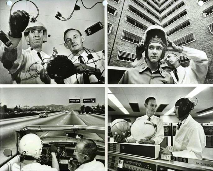 Imagen: Fotografías de 1963 en las que se muestra el equipo telemétrico desarrollado por el Laboratorio de Biología del Espacio (liderado por Ross Adey y colaboradores) para medir la señal EEG de astronautas en el espacio. En la imagen de abajo a la derecha, se muestra el primer ordenador (IBM-7094) utilizado para procesar señales de EEG y obtener datos QEEG (brain mapping).
