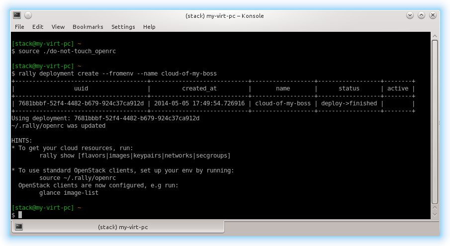 screenshot of Rally Konsole when adding a cloud with opencrc credentials