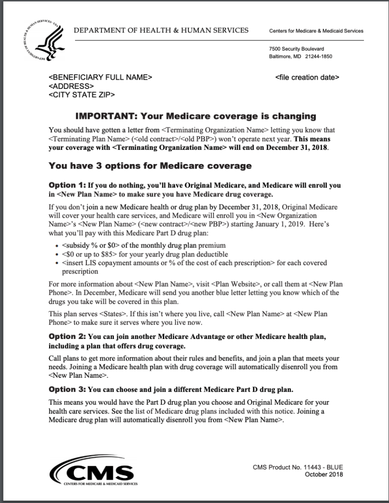 Medicare Advantage Plan Reassignment Notice page 1