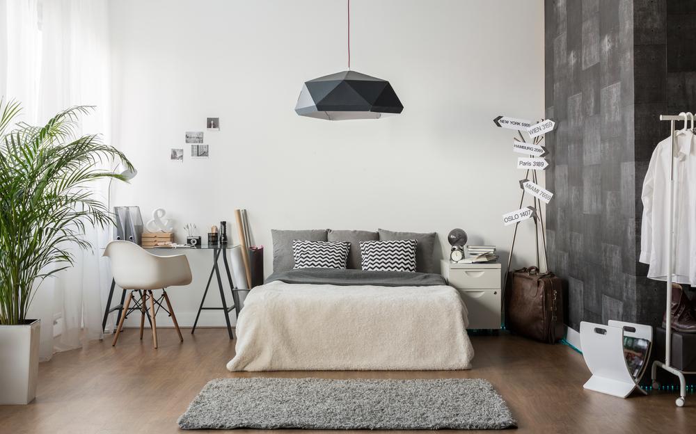 Um quarto com um pendente decorativo, uma escrivaninha moderna e uma planta.