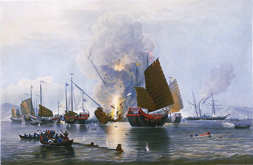 Painting of a British naval victory during the first Opium War, with Chinese ships being destroyed by cannon fire.