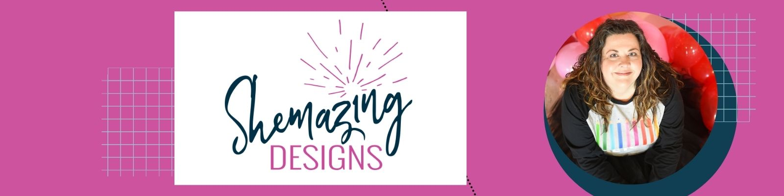 Shemazing Designs logo and portrait of founder Sheena Mays