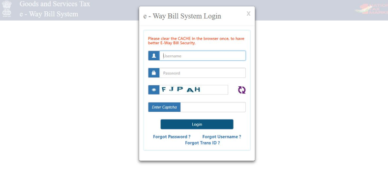 How to login to eWay Bill portal