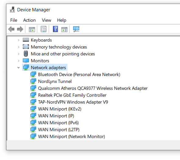 Check your network adapter driver in device manager