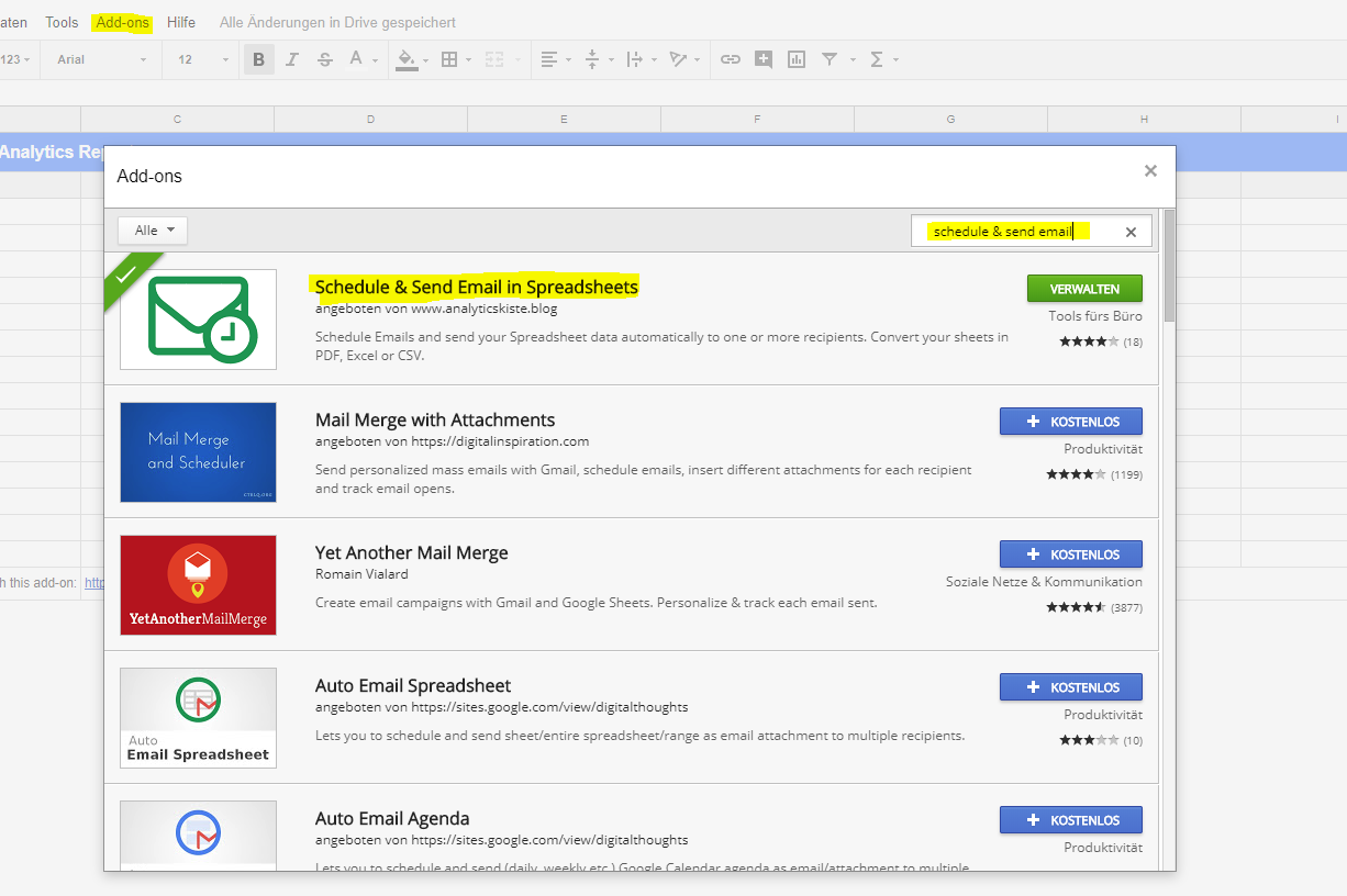 google sheets add-on in marketplace.