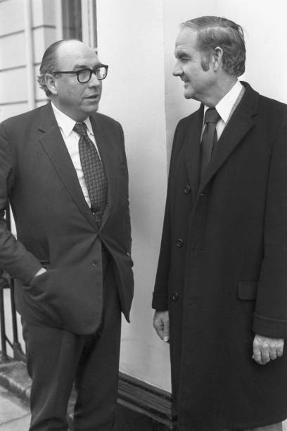 Labour MP Roy Jenkins meets with US Senator George McGovern at the British politician's home in Ladbroke Square London