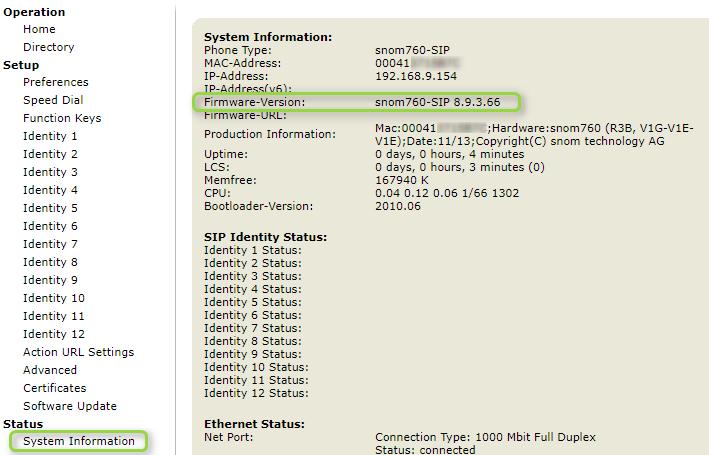 Durchführen eines Firmware-Update von snom-Telefonen