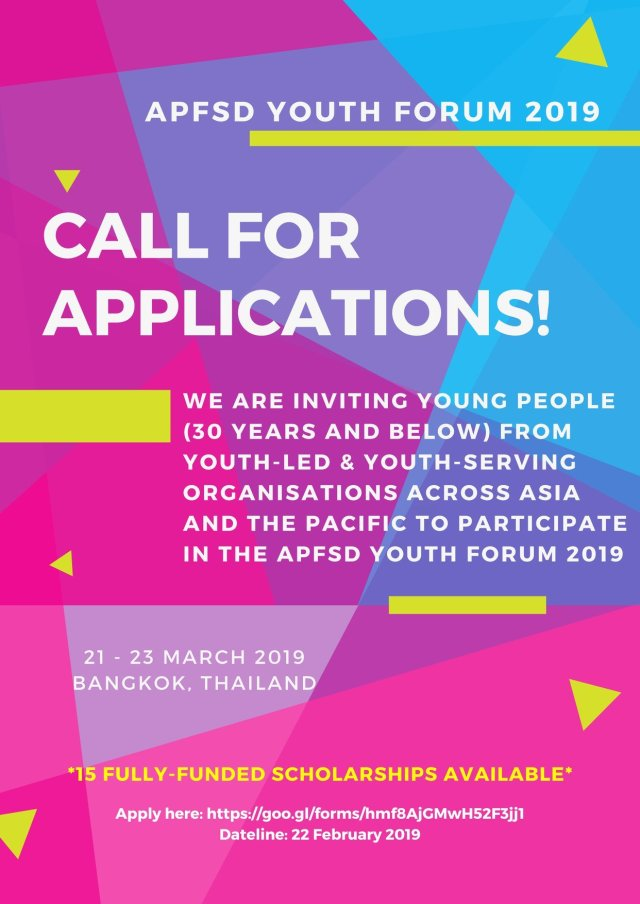 Call for Application for APFSD Youth Forum 2019 – Y-PEER