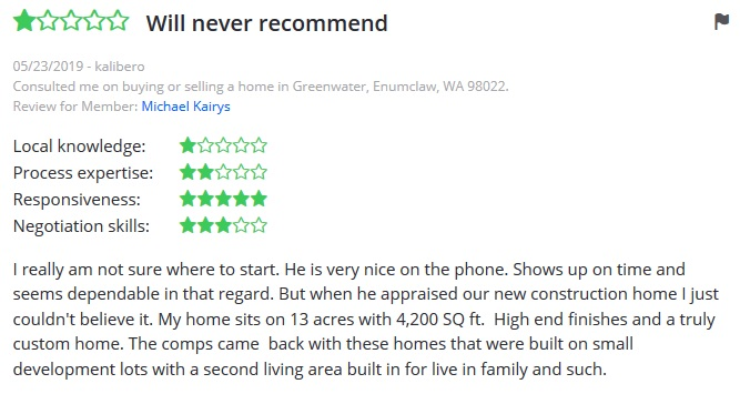 Faira negative review Zillow