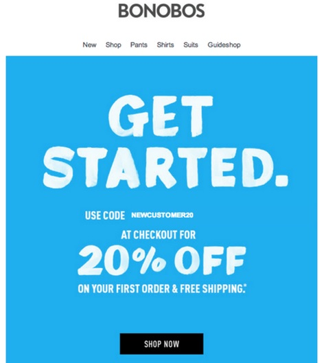 Email marketing shop now example