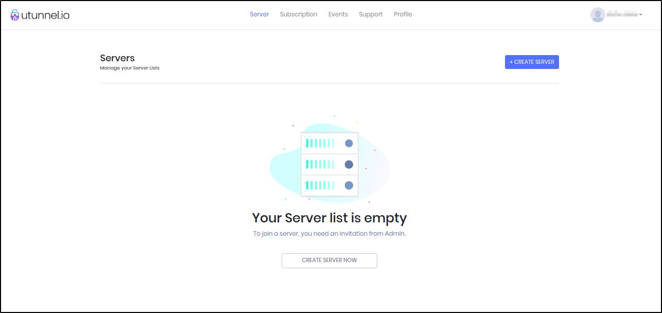 UTunnel VPN user dashboard