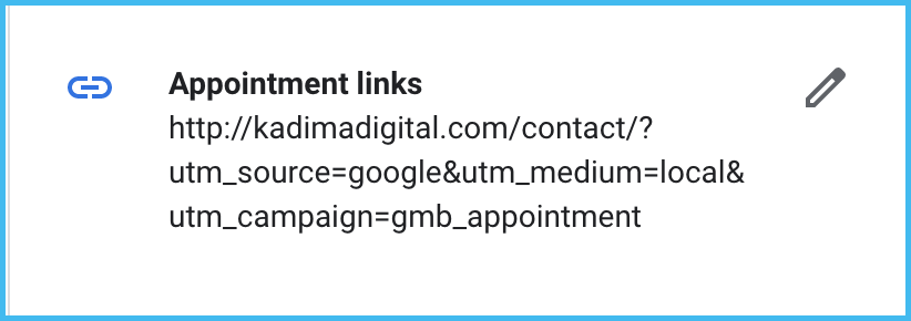 custom url gmb appointment link