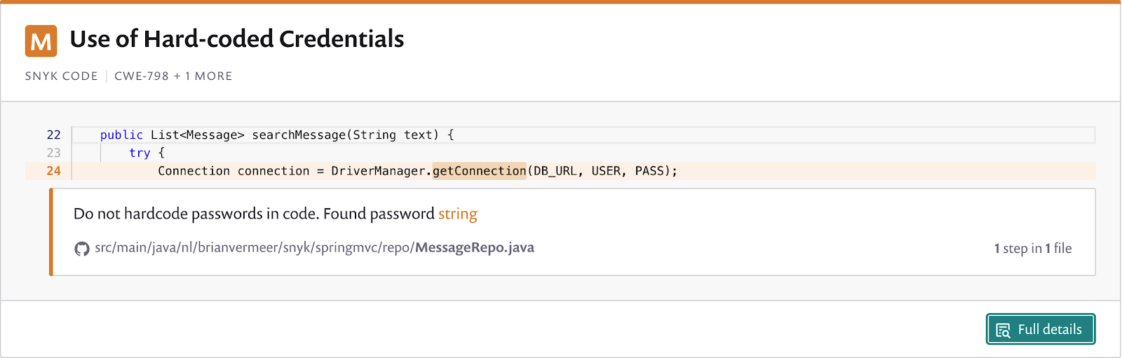 Don't hard code credentials. Advised by Snyk Code