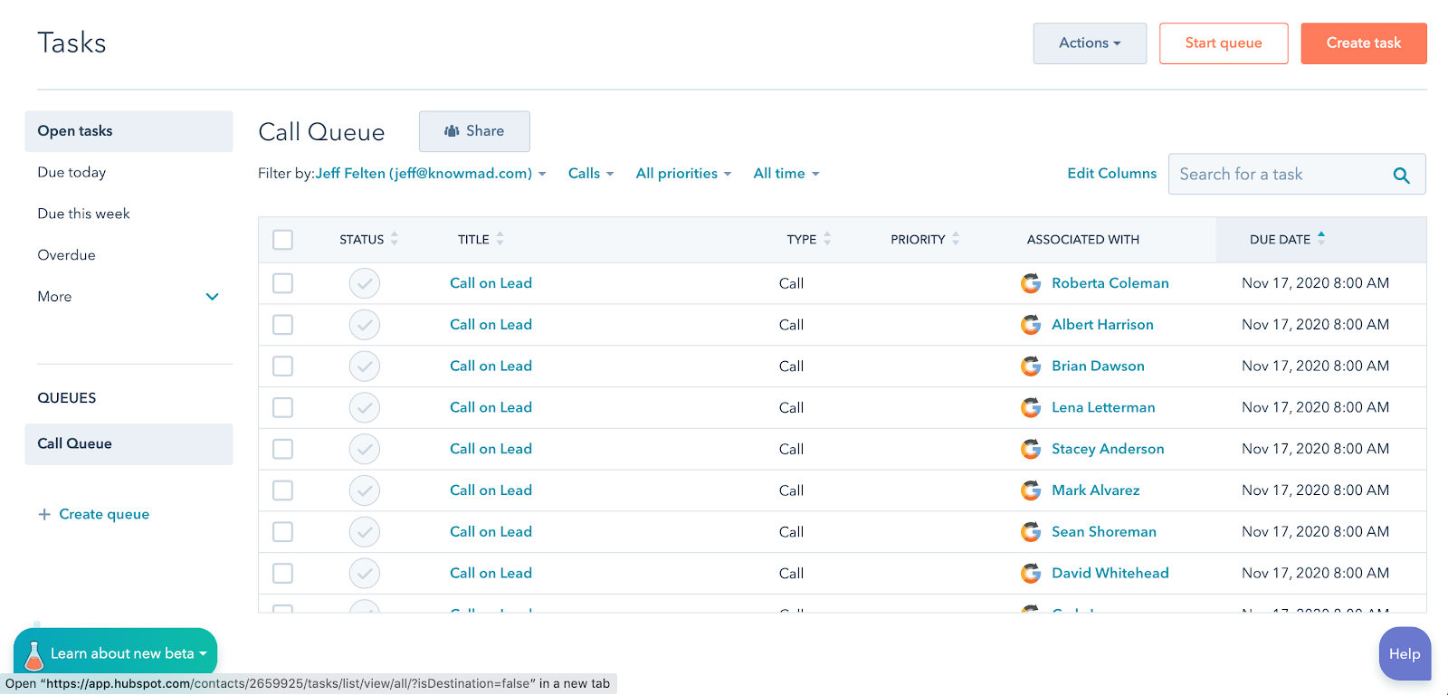 HubSpot task queue for calling leads