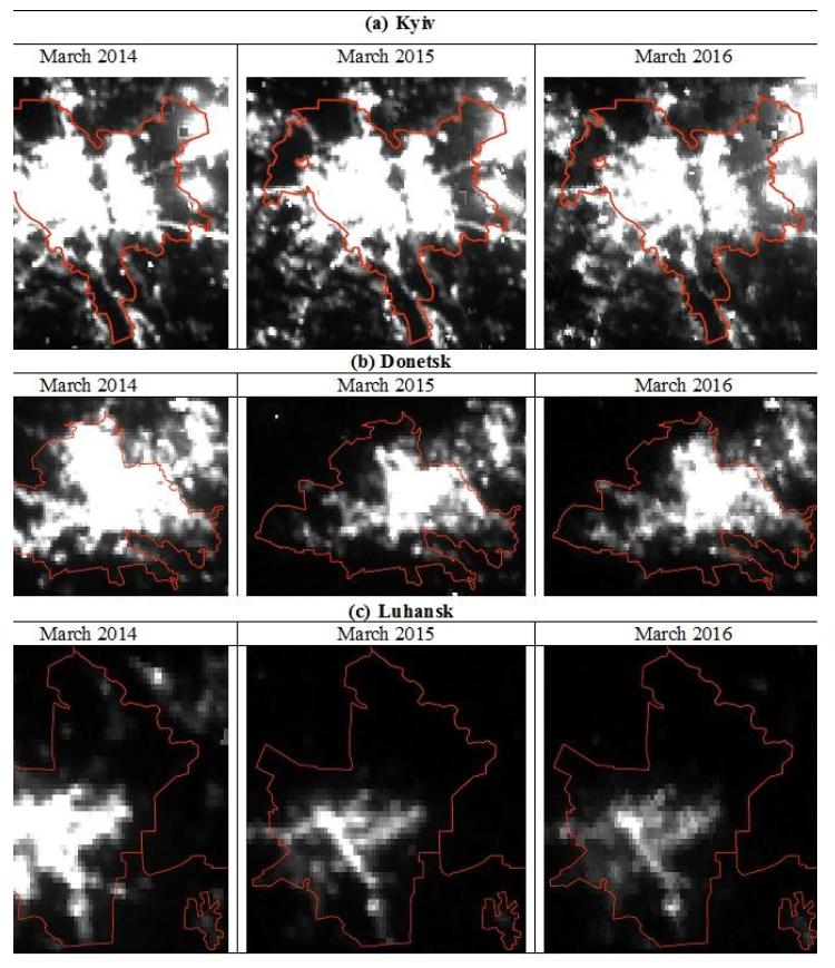 Примечания: Интенсивность освещенности по линейной шкале от 0 до 10 нВт/см2/ср, где черные пиксели — 0, а белые — 10 нВт/см2/ср и более. Административные границы городов: © OpenStreetMap contributors, CC BY-SA.