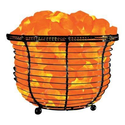 WBM # 1301B Natural Air Purifying Himalayan Basket Salt Lamp With Salt Chunks, Bulb & Dimmer Switch