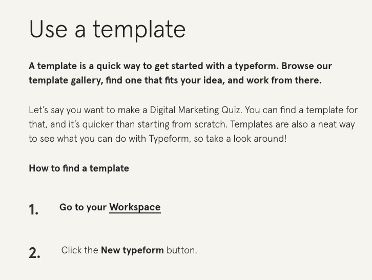Example of a knowledge base article by Typeform