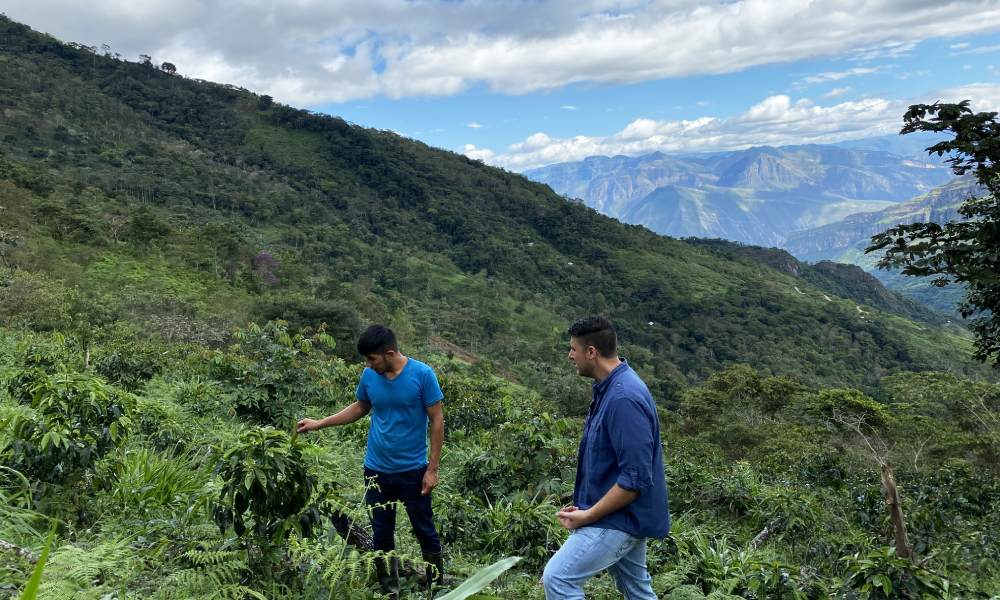 clint and a peruvian producer on a coffee farm