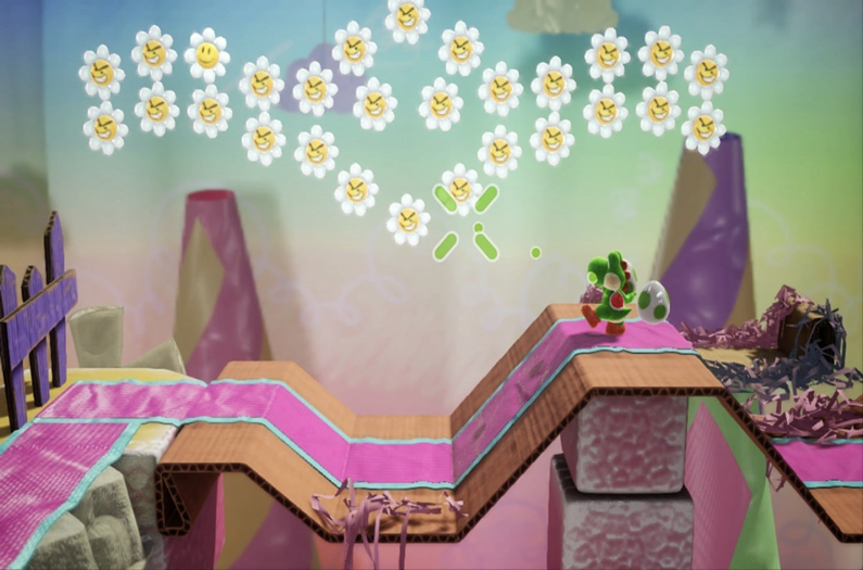 Yoshi on a cardboard path with angry looking daises above his head.