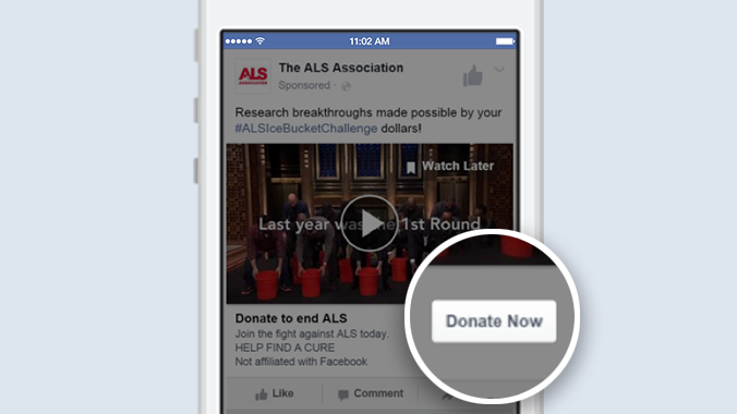 "Example of new Facebook ""Donate Now"" button on a nonprofit Facebook app page"
