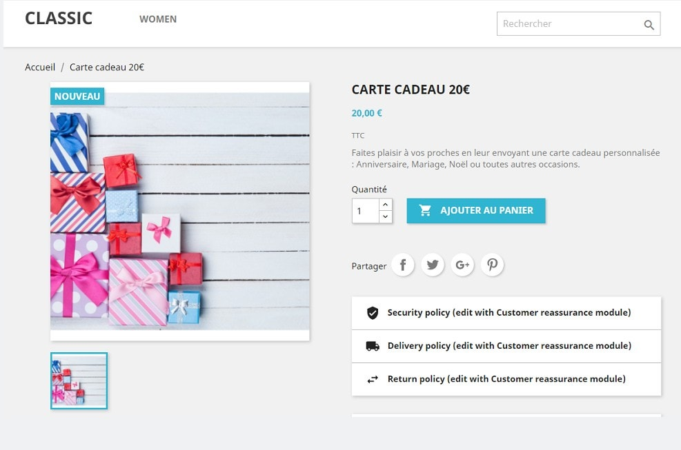 module Carte Cadeau Premium