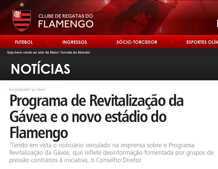 O Flamengo não tem estádio pra jogar Futebol