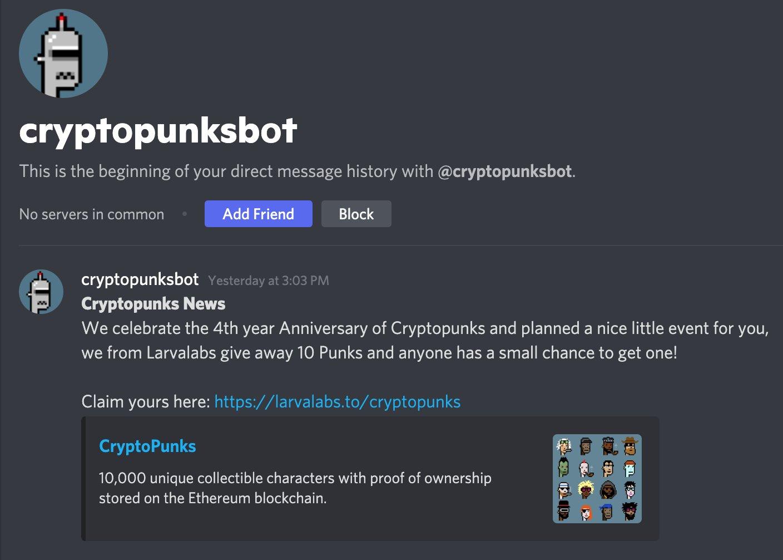 Message de phishing reçu par Stazie sur Discord lui annonçant qu'il pouvait gagner 10 CryptoPunks