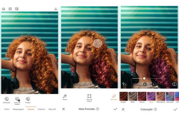 Montagem de fotos de uma mulher ruiva com cabelos encaracolados sendo editada pelo AirBrush
