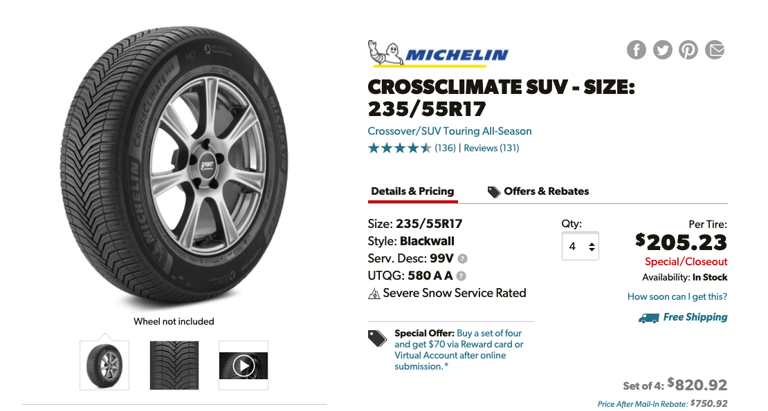 Best Tires for Subaru Outback - The Top 5 Choices Michelin CrossClimate SUV