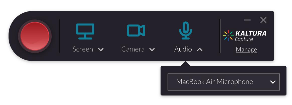 Screenshot of the Kaltura Desktop recording controls with the audio dropdown menu opened